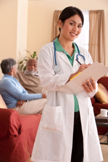 doctor in retirment home : Stock Photo