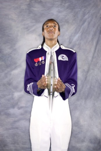 Portrait of a cymbal player in a marching band uniform. : Stock Photo