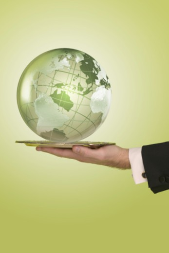 Businessperson's hand holding globe on a platter : Stock Photo
