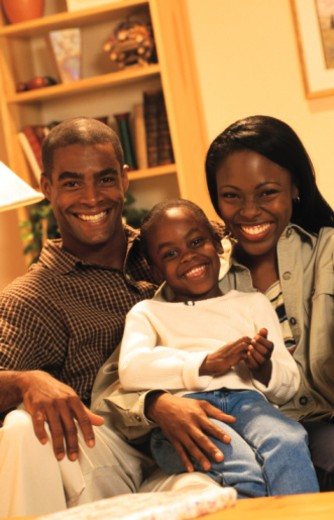 Stock Photo: 1557R-356556 Family portrait at home