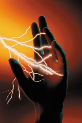Lightning and hand : Stock Photo