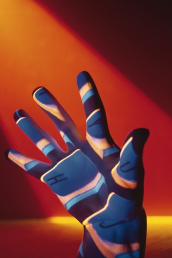 Stock Photo: 1557R-357362 Keyboard projected onto hand