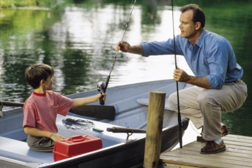 Father and son about to go fishing : Stock Photo