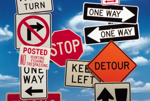Variety of road signs : Stock Photo