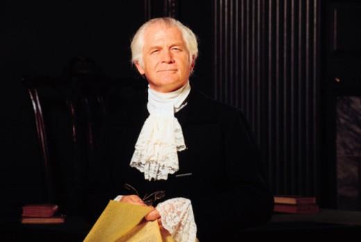 Man in Colonial attire , Independence Hall , Philadelphia , Pennsylvania : Stock Photo