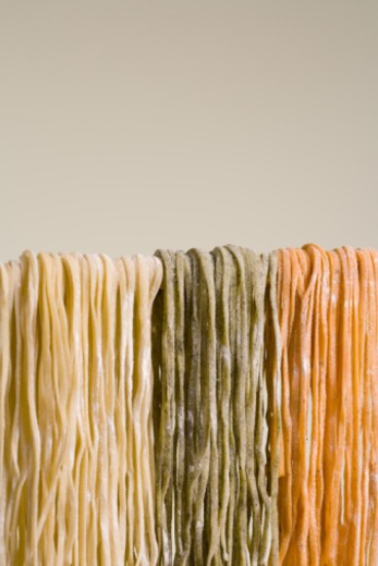Different types of fettuccine : Stock Photo