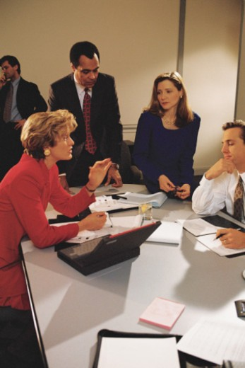 Businesswoman leading meeting : Stock Photo