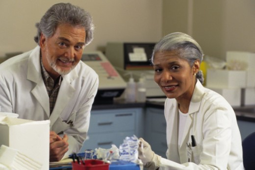 Stock Photo: 1557R-365186 Two scientists in laboratory