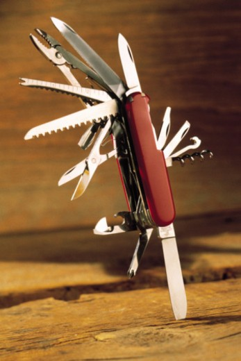 Stock Photo: 1557R-365870 Pocket knife with multiple blades and tools