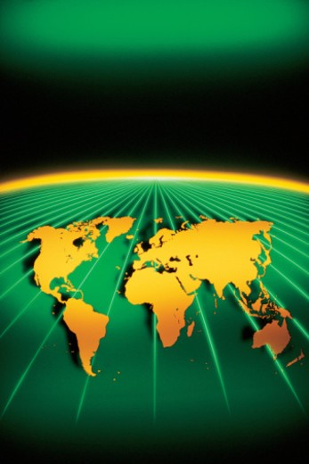 Stock Photo: 1557R-367236 World map on curved green surface