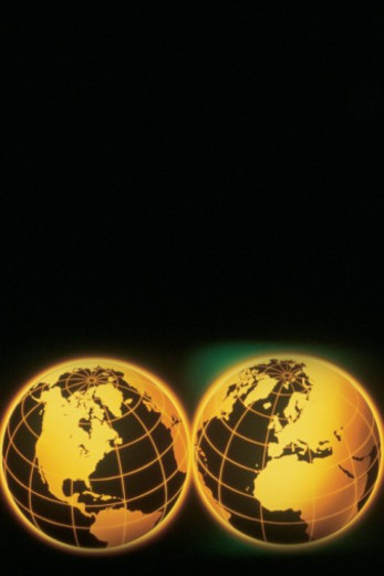 Stock Photo: 1557R-367240 Two globes , western & eastern hemispheres