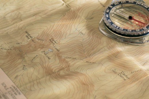 Stock Photo: 1557R-367354 Compass on map