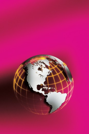 Stock Photo: 1557R-367367 Globe with grid on pink