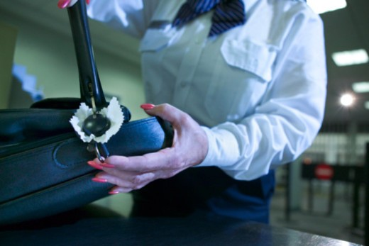 Stock Photo: 1557R-369206 Airport security officer checking luggage