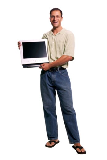 Man with computer monitor : Stock Photo