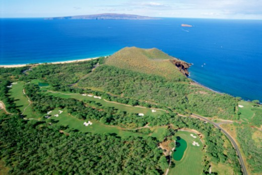 Stock Photo: 1557R-369861 Aerial view of Makena, Maui, Hawaii