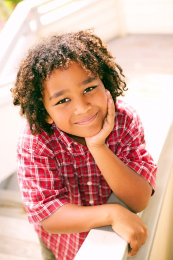 Smiling pre-teen boy : Stock Photo