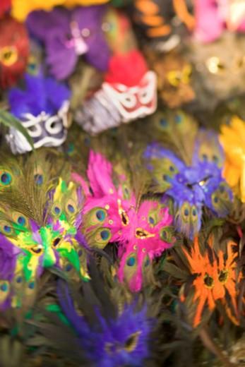 Stock Photo: 1557R-370841 Mardi Gras masks