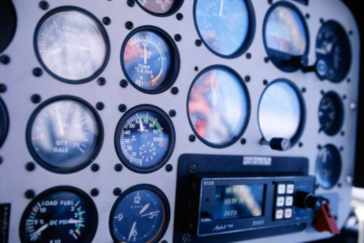 Helicopter dials and gages : Stock Photo