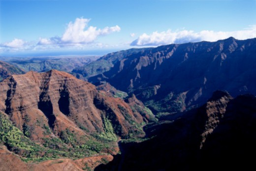 Aerial view of mountains, Kauai, Hawaii : Stock Photo