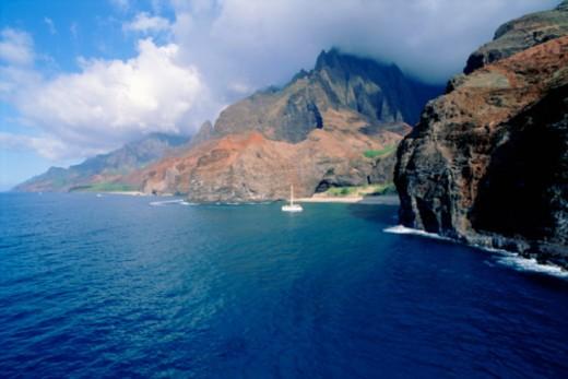 Stock Photo: 1557R-374197 Aerial view of cliffs, Kauai, Hawaii