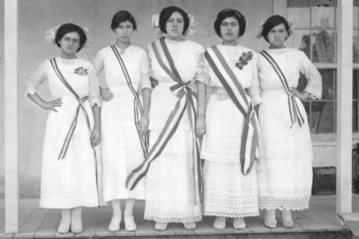 Vintage image of women with sashes : Stock Photo