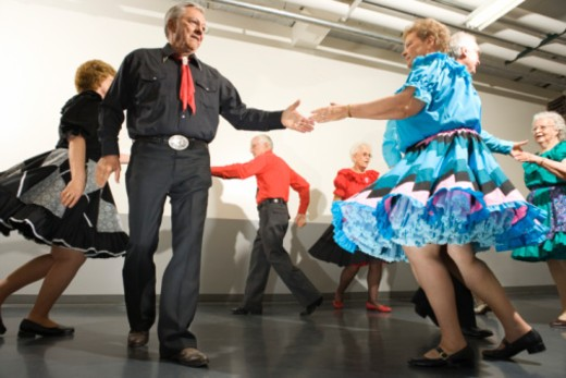 Stock Photo: 1557R-376810 Couples square dancing