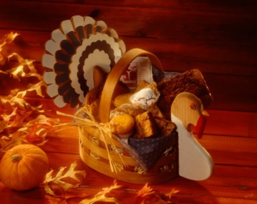 Turkey basket  with muffins and cookies : Stock Photo