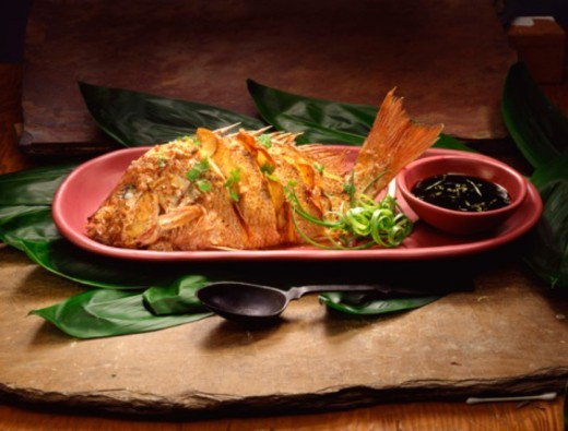 Deep fried red snapper entree : Stock Photo