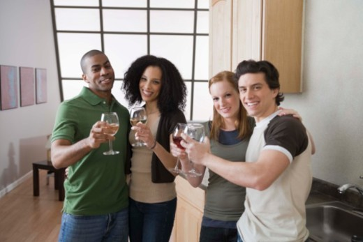 Stock Photo: 1557R-379141 Friends toasting with wine