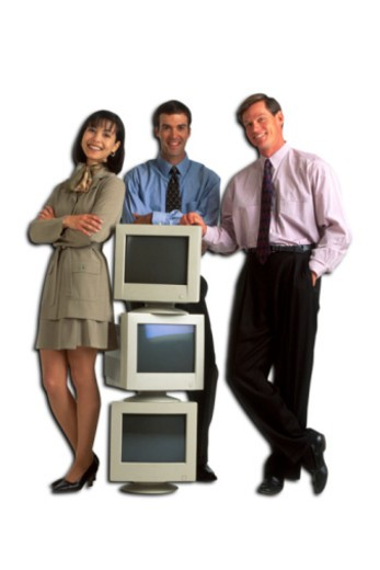 Stock Photo: 1557R-379357 Businesspeople with stack of computer monitors