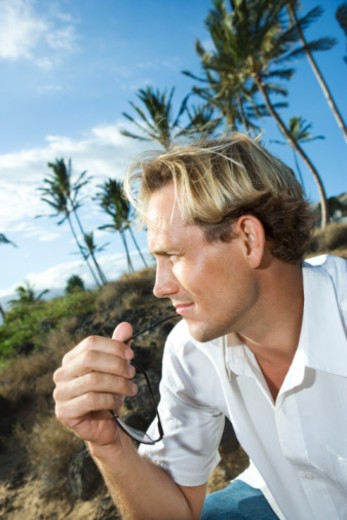 Man gazing to the side : Stock Photo