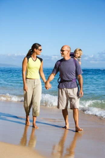 Stock Photo: 1557R-383666 Family at beach