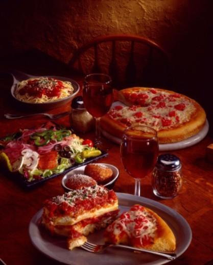 Spread of Italian food : Stock Photo