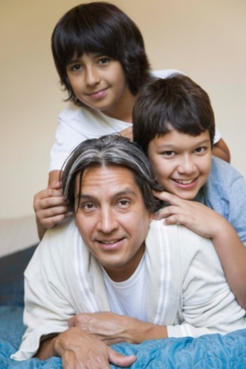 Portrait of father and sons : Stock Photo