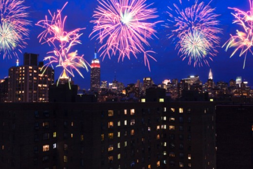 Fireworks over New York City : Stock Photo