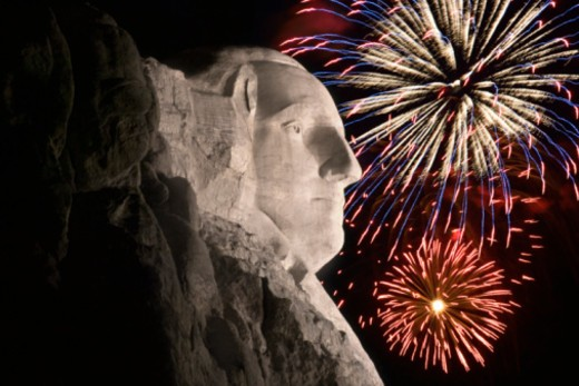 Stock Photo: 1557R-389632 Fireworks behind Mount Rushmore