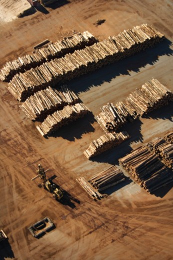Aerial view of log piles, Tacoma, Washington : Stock Photo