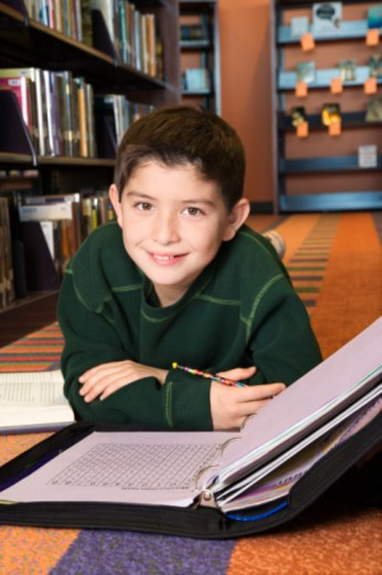 Boy doing homework in library : Stock Photo