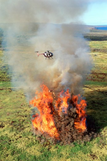 Stock Photo: 1557R-390848 Helicopter flying over brush fire