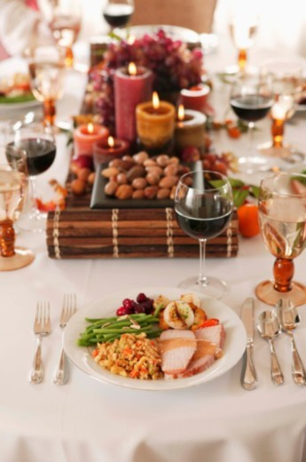 Table setting with food : Stock Photo