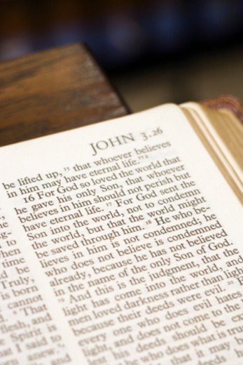Bible page from the book of John : Stock Photo