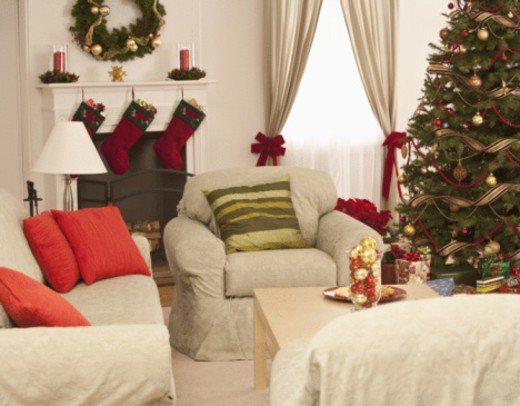 Stock Photo: 1557R-397575 Living room decorated for Christmas Holiday.