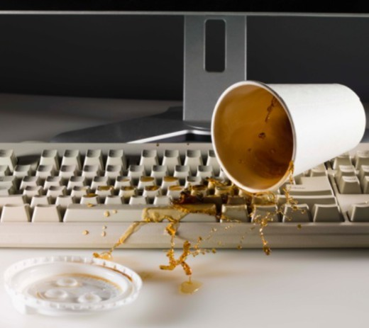 Spilling coffee : Stock Photo
