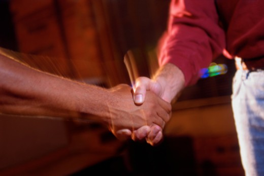 Clasp of handshake : Stock Photo