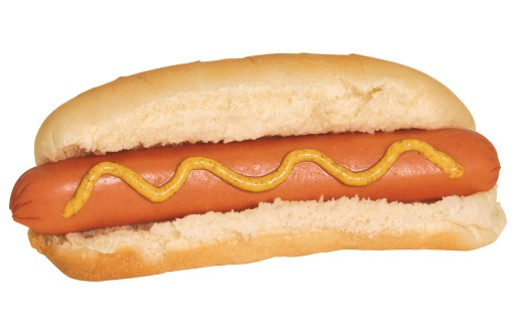 Stock Photo: 1557R-54044 Hot dog with mustard