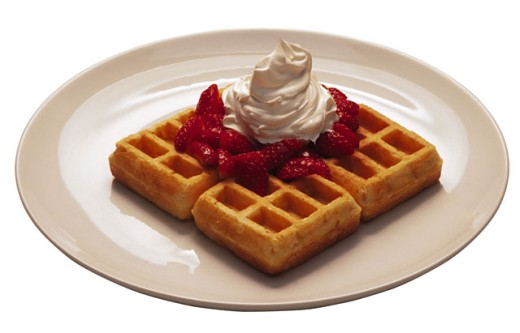 Waffles with strawberries : Stock Photo