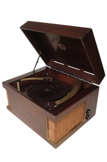 Vintage wooden record player : Stock Photo