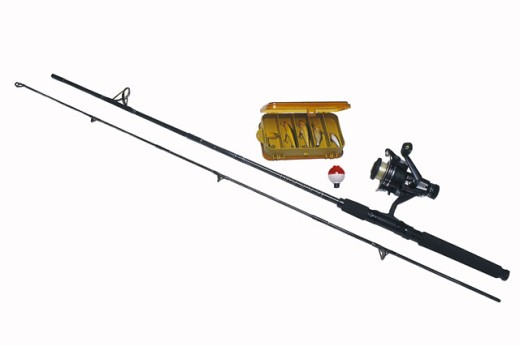 Stock Photo: 1557R-92015 Fishing pole and tackle box