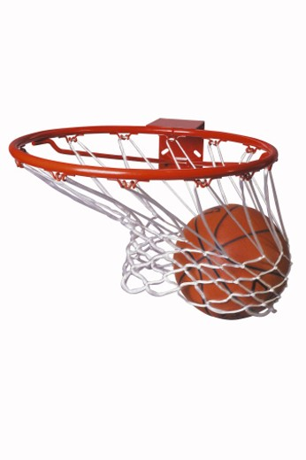 Basketball going through hoop : Stock Photo